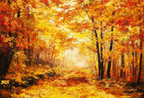 Autumn Forest Backdrop Fall Yellow Natural Scenic Fallen Leaves Photo Backdrop LV-227