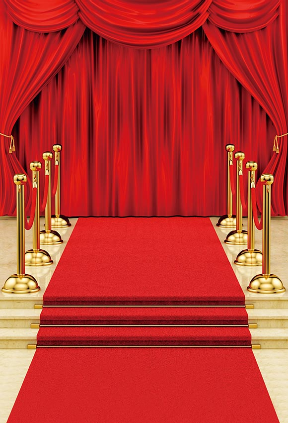 Red Carpet Curtain Stage Photography Backdrops for Party Decorations LV-286