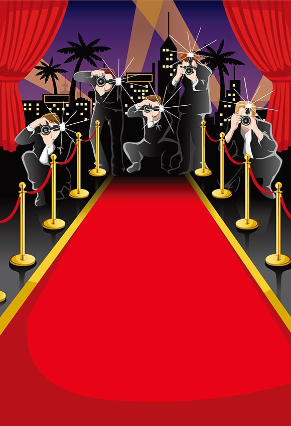 Red Carpet Hollywood Party Decoration Photography Backdrops LV-288