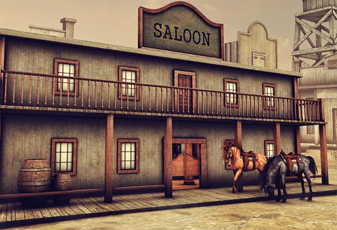 Western Saloon Cowboy Barn Cabin Retro Western Bank Horse Photo Backdrop LV-409
