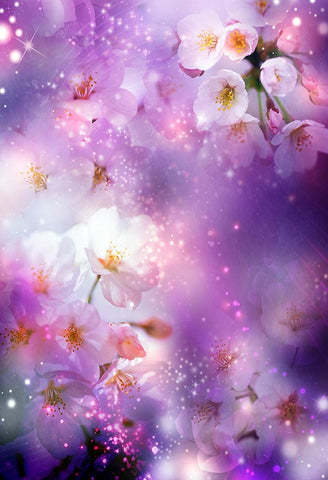 Beautiful White Flowers Purple Photo Backdrop for Party LV-411