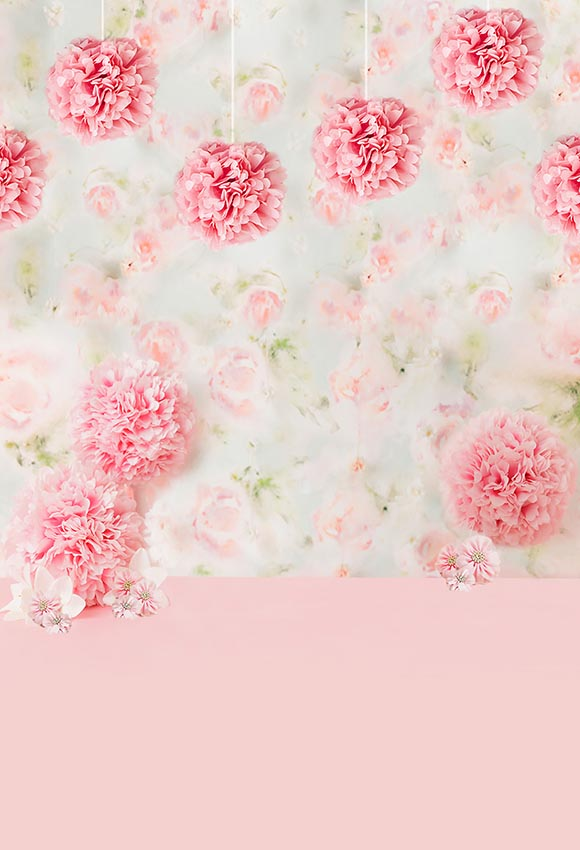Pink Floral Wall Photo Booth Backdrop for Baby  LV-456