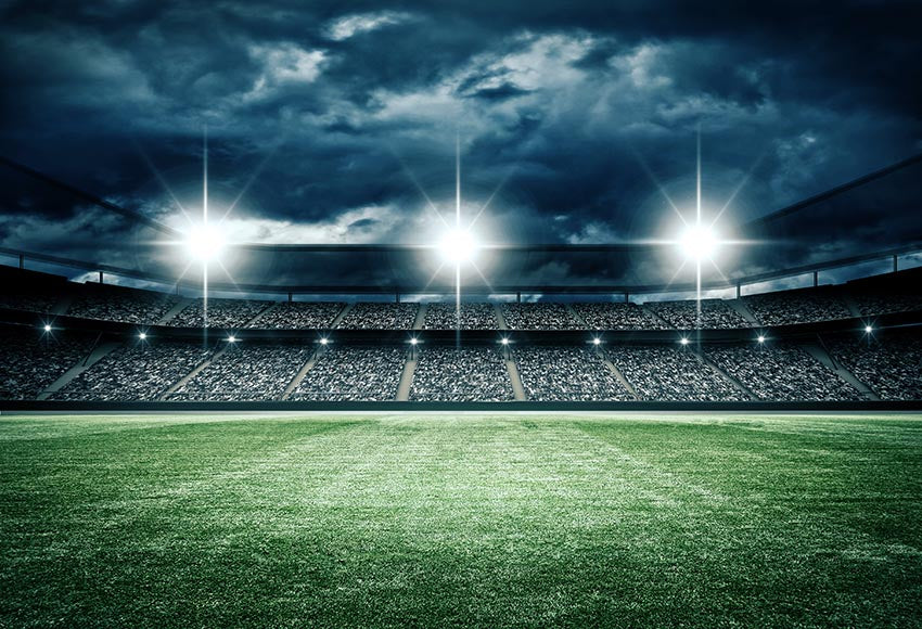 Stadium Green Grass Lights Photography Backdrop LV-672