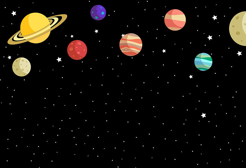 Sapce Universe Stars Planets Night Sky Children Photo Backdrop LV-768