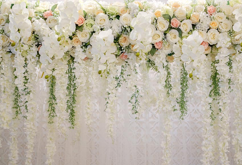 White Flowers Wall Photo Backdrops for Birthday Party LV-772