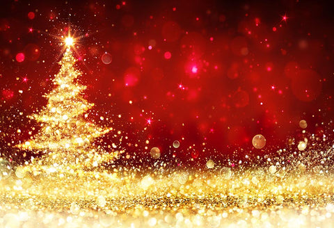 Gold Xmas Tree Red Christmas Backdrop for Photography LV-821