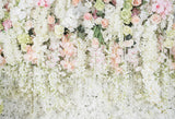 White Flowers Curtain Decoration Backdrops for Photography LV-948
