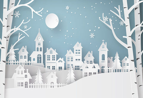 Christmas Village Night Moon Photo Backdrop LV-975