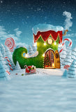 Christmas Boot House Snow Photography Backdrop LV-985