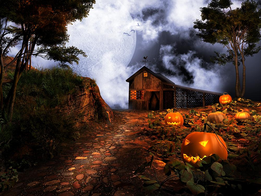 Halloween  Wooden House Pumpkin Photo Backdrop  DBD-H19064