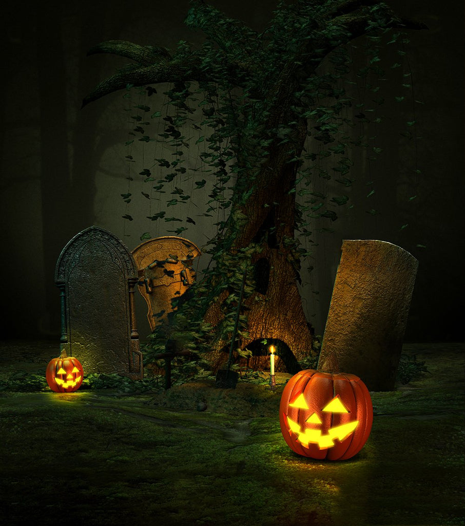 Night Forest Pumpkin Halloween Backdrops for Photo Studio DBD-19136