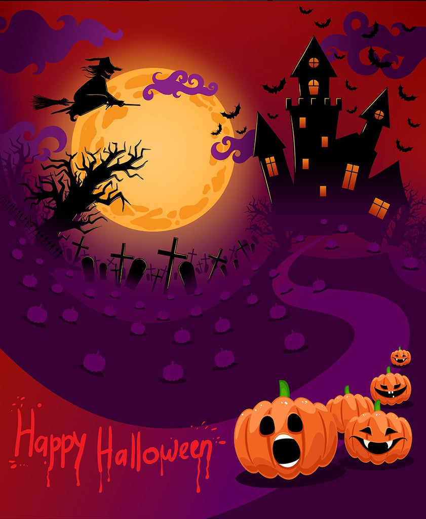 Happy Halloween Pumpkin Moon Castle Photo Backdrop DBD-P19055