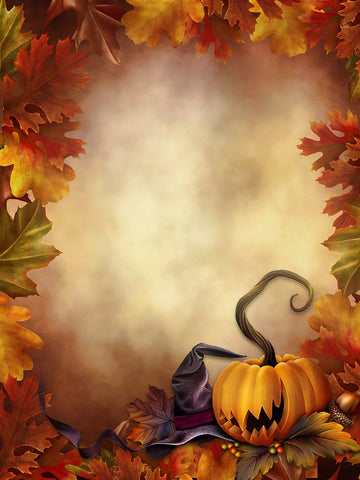 Visional Background Wizard Hat and Pumpkins Halloween Backdrops IBD-P19141