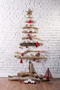 White Brick Wall Christmas Tree Photography Backdrop DBD-P19167