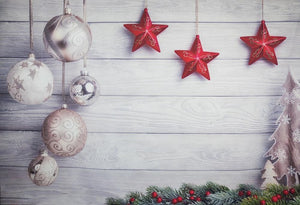 Red Star White Wood Christmas Backdrop for Photography DBD-H19166