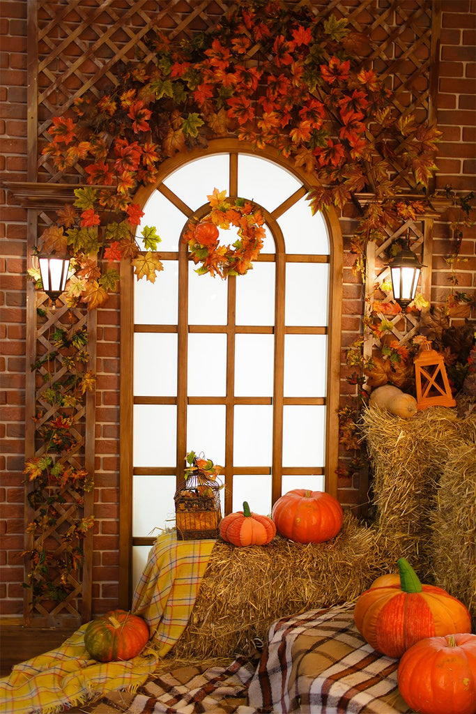 Festival Backdrops Halloween Backdrops Window Pumpkin Floral Backdrop