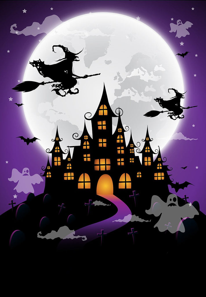 Festival Backdrops Halloween Backdrops Witch And Terrifying Castle Background IBD-P19055