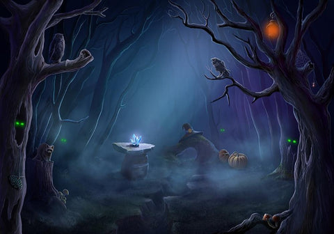 Withered Forest Background Rare Crystal Halloween Backdrops IBD-H19138