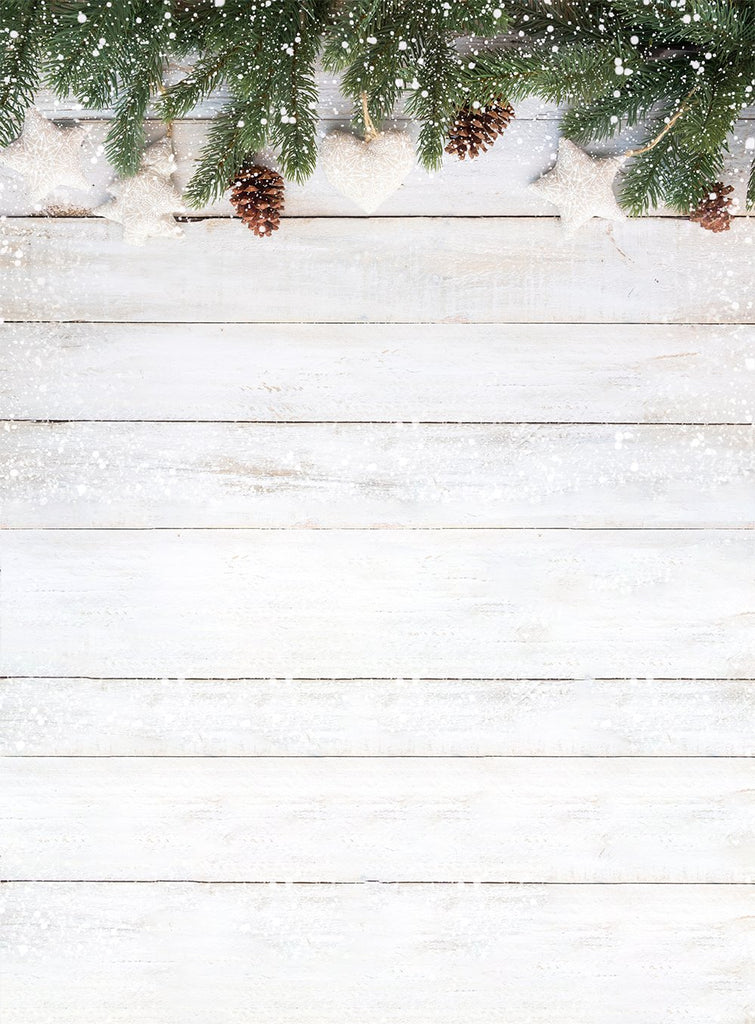 White Wood Wall Christmas Tree Backdrop For Photography Dbd P19164 Dbackdrop