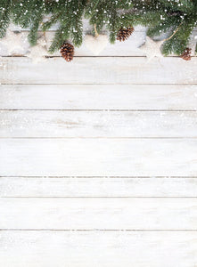 White Wood Wall Christmas Tree Backdrop for Photography DBD-P19164