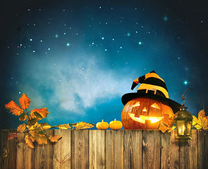 Wood Fence and Pumpkin Lanterns Background Halloween Backdrops IBD-H19109