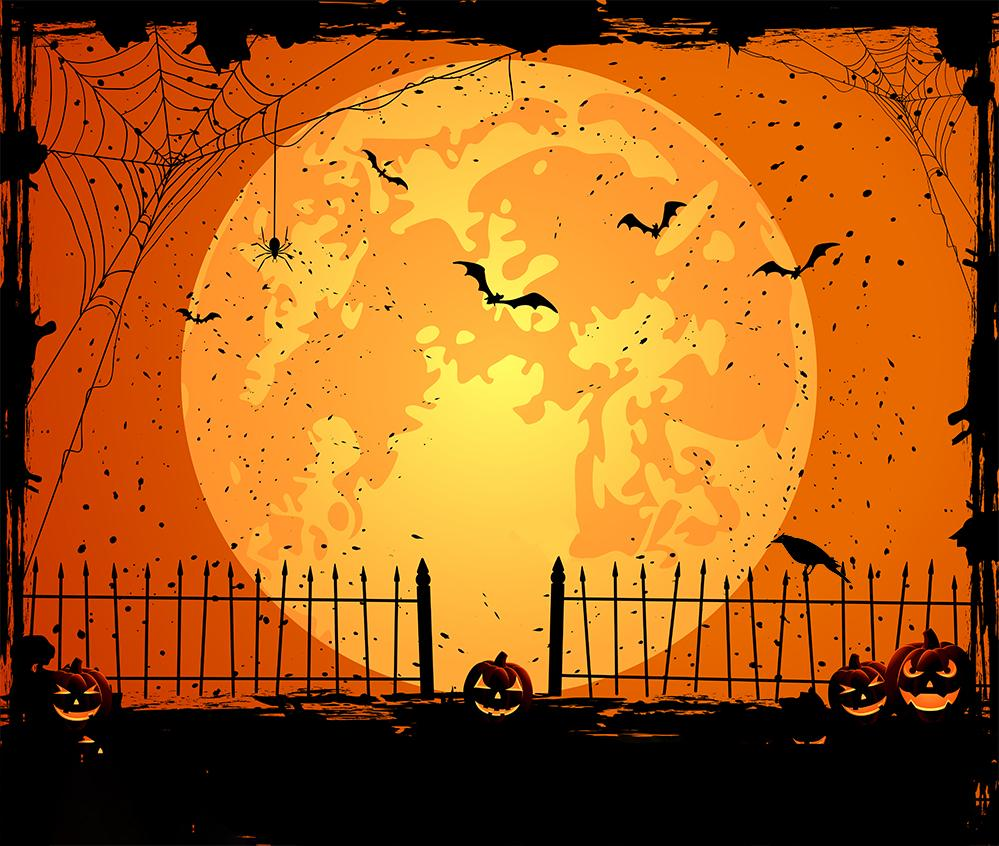 Halloween Fired Moon Night Backdrop for Photo Studio DBD-H19023