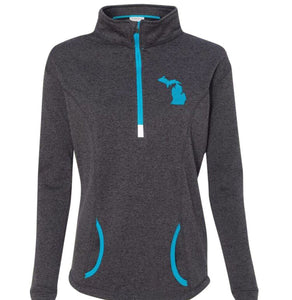 Michigan 1/4 Zip Womens Pullover - Dark Gray