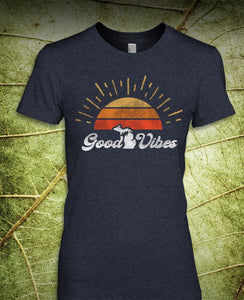 Ladies Good Vibes T-Shirt Heather Navy