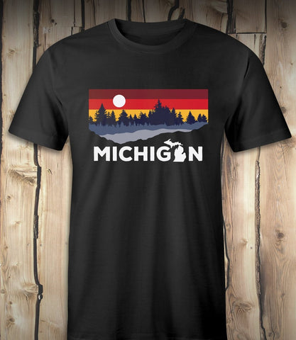 Michigan Lake - Mens T-Shirt - Black
