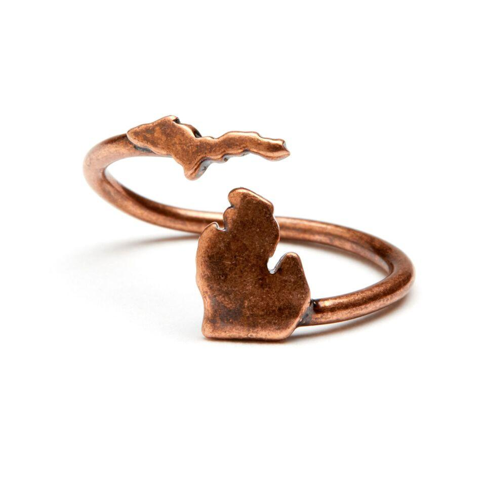 Michigan Map Ring - Antique Copper Plated Brass