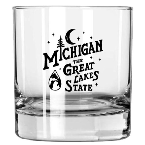 Whiskey Glass - Michigan Vintage Font