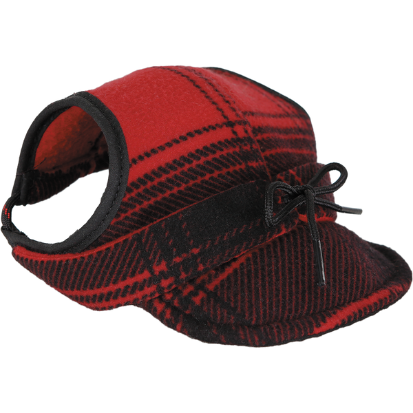 Critter Kromer Cap for Dogs and Pets - Red/Black Plaid
