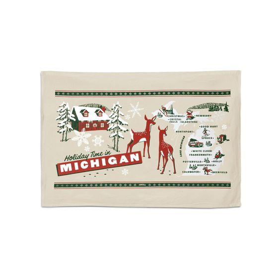 Holiday Greetings from Michigan Sack Towel
