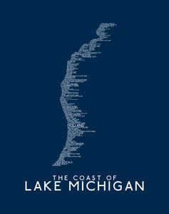 Michigan's Lake Michigan Coastline Word Map Fine Art Print (Dark Blue)  11 x 14