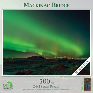 Mackinac Bridge with Northern Lights Puzzle - 500 pcs