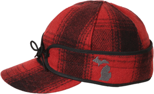 Stormy Kromer Michigan Pride Cap - Red & Black Plaid