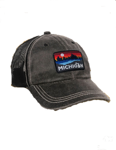 Michigan Lake Weathered Trucker Cap - Black
