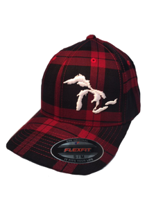 Red Plaid Flex Fit Cap with Great Lakes