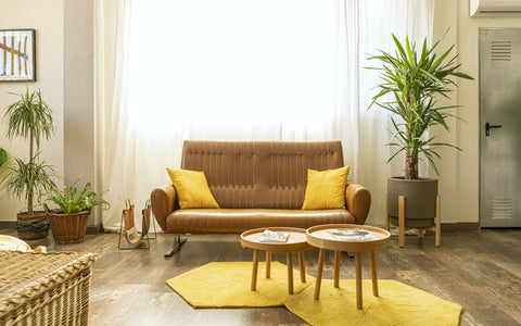 Living Room Featuring Warm Tan Tones with Yellow Accents