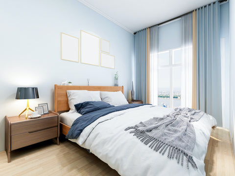 Pale Blue Bedroom with Lots of Natural Light