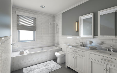 Grey bathroom with marble accents