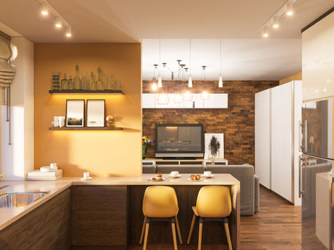 Warm and inviting kitchen with lots of natural wood and golden toned walls