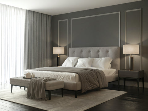 Elegant Grey Bedroom with Lamps and Draped Window
