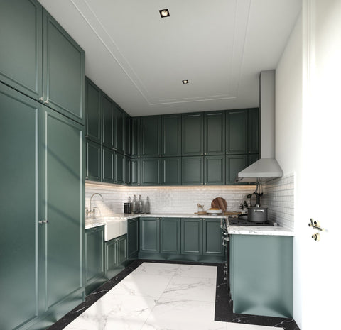 Teal Painted Kitchen Cupboards