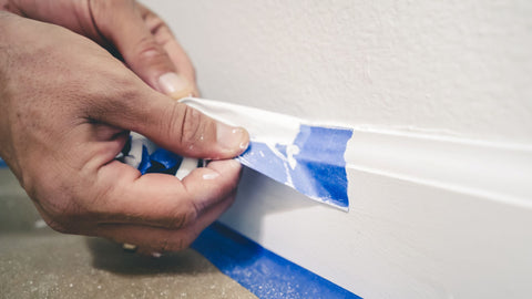 White Baseboard Trim with Painter's Tape
