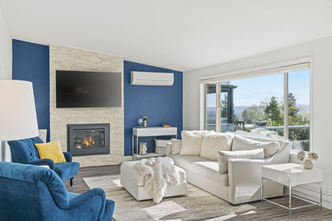 Room with Blue Accent Wall