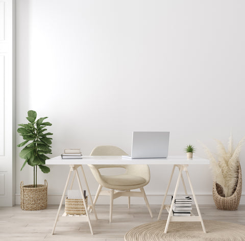 Scandinavian style simple white desk with house plant