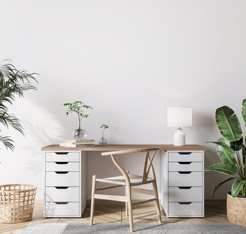 Office with sandalwood accents and white shaded light