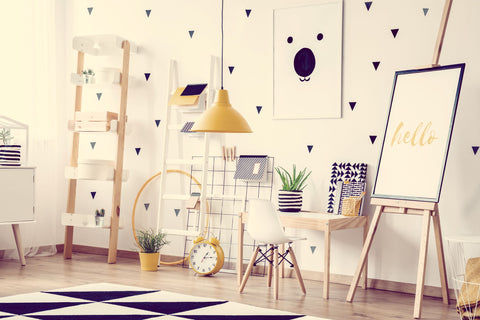 Triangle Patterned Wall with Yellow Accents