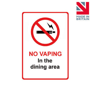 Sign | No vaping in Dining area
